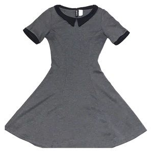 Fit and flare grey dress w black collar